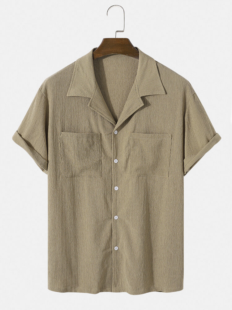 Mens Double Pocket Texture Solid Color Short Sleeve Shirt