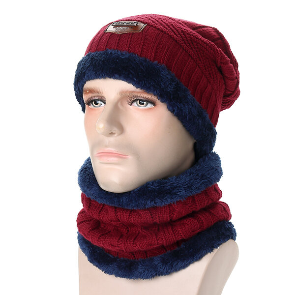 Men Knitted Slouch Beanie Hat Scarf Set Lining Coral Fleece Double Layers Warm Ski Outdoor Cap