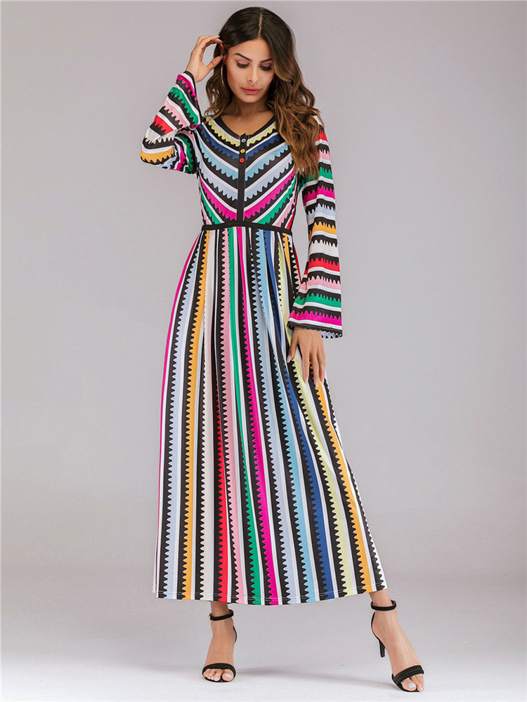 rainbow color trumpet sleeves mopping skirt