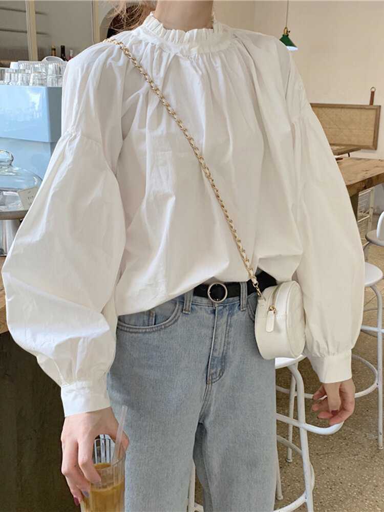 Solid Color Stand Collar Long Sleeve Casual Blouse For Women