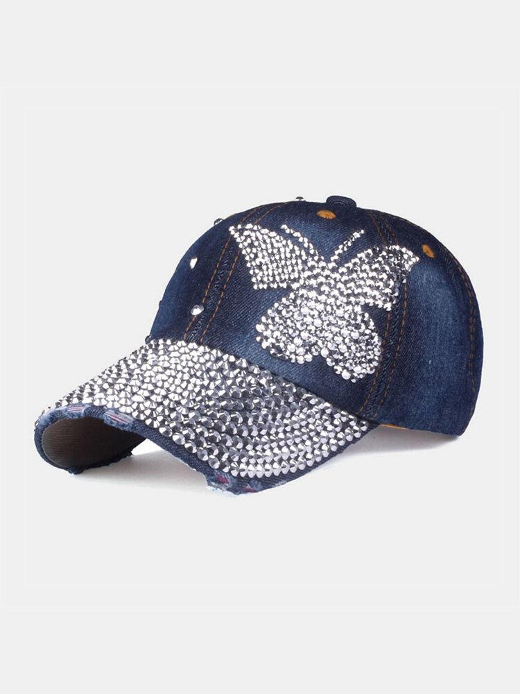 Women Denim Rhinestone Decorated Butterfly Pattern Broken Hole Casual Sunshade Baseball Caps