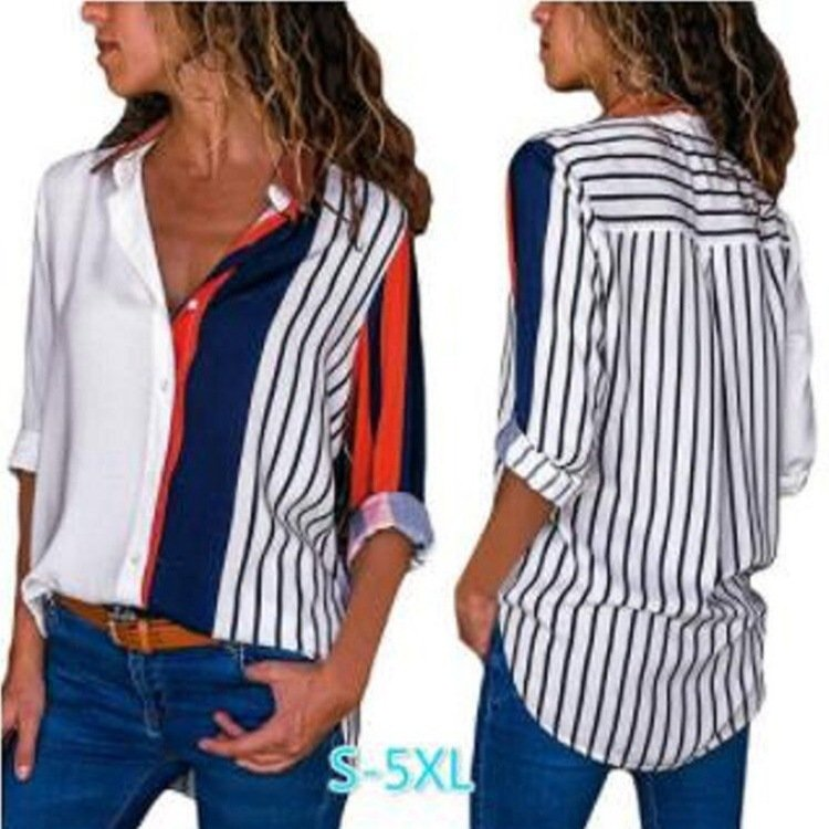 Women's Long-sleeved Single-breasted Striped Shirt