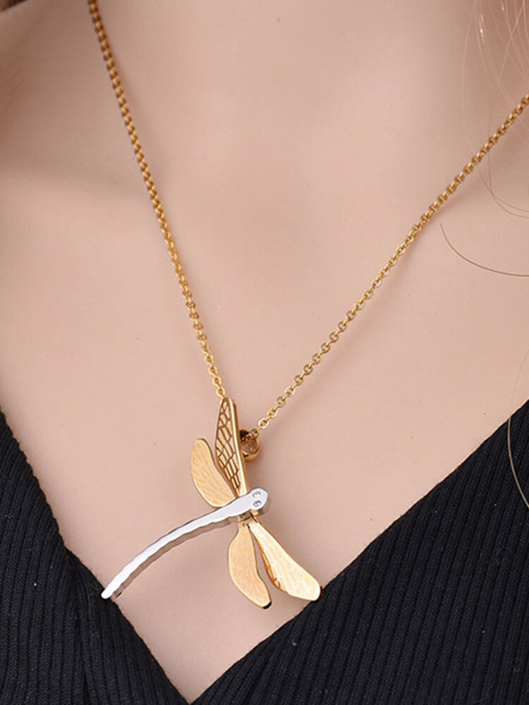 Simple Stereoscopic Dragonfly Women Necklace Two-Color Titanium Steel Pendant Necklace