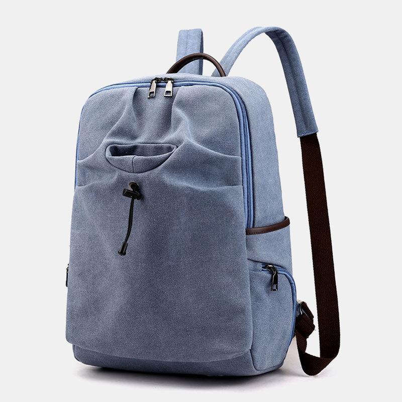 Men Outdoor Headphone Plug Anti-theft Multi-pocket Backpack