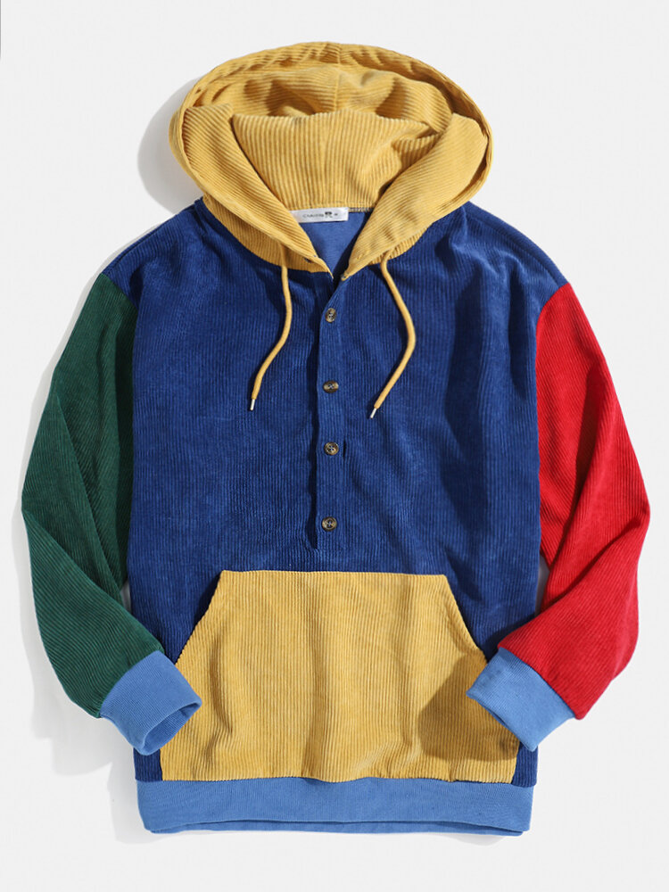Mens Multi-Color Block Patchwork Button Corduroy Hoodies With Front Pocket