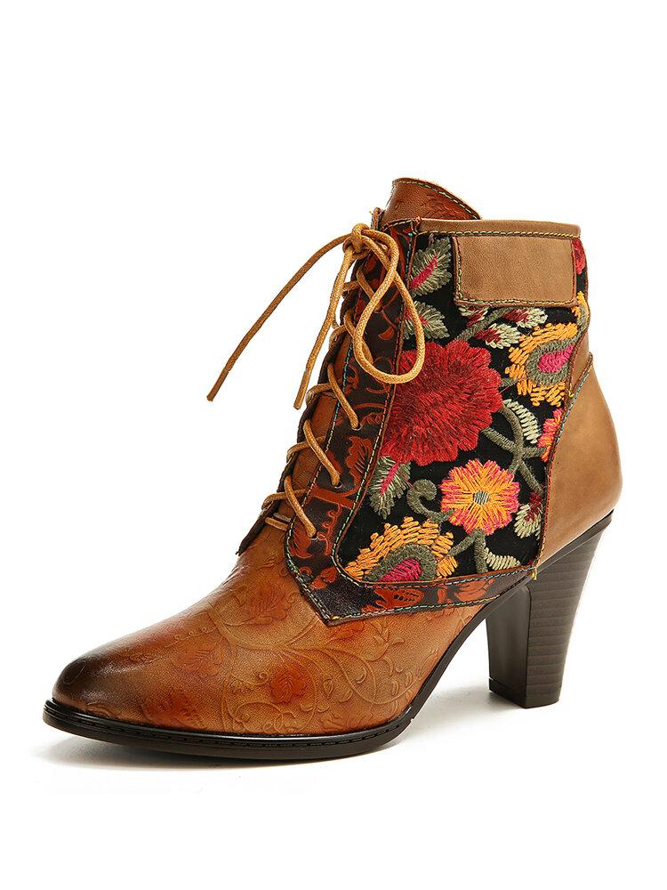 SOCOFY الرجعية النساء التطريز جلد طبيعي الربط الدانتيل يصل أحذية عالية الكعب الشتاء اللباس