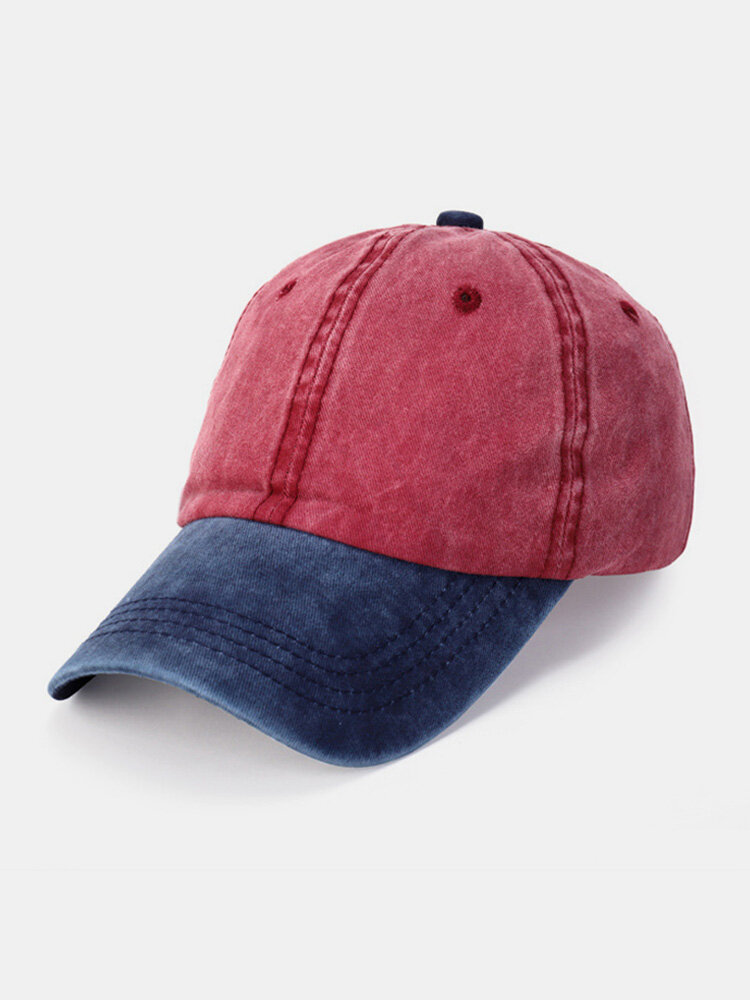 Unisex Washed Distressed Cotton Color-match Fashion Breathable Baseball Cap