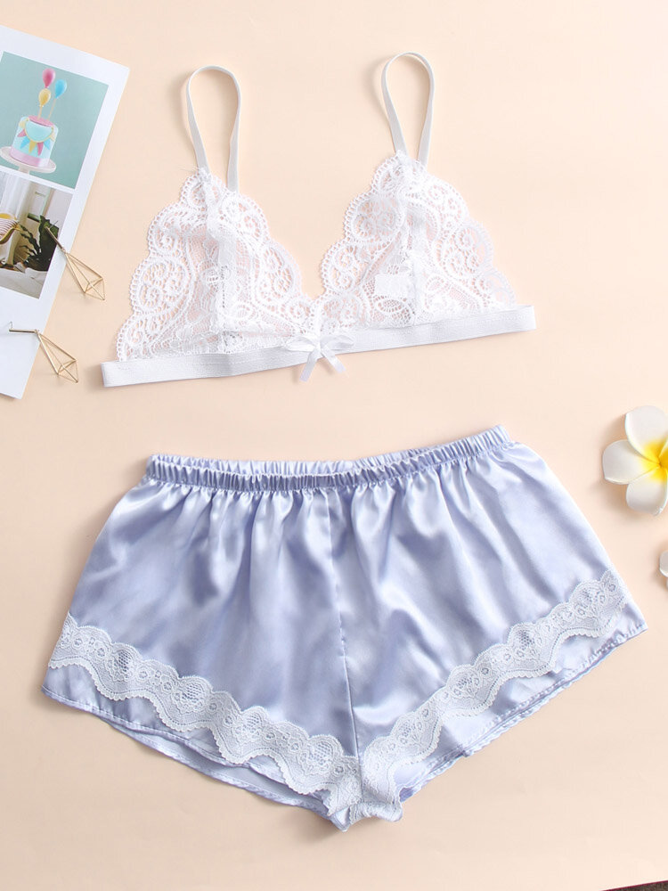 Women Lace Hollow Back Buckle Top & Shorts Pajama Sets