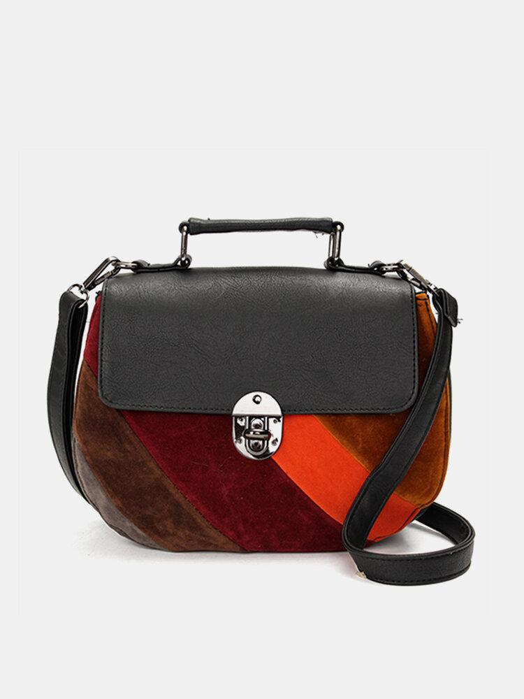 Women Elegant Contrast Color Shell Design Crossbody Bags Casaul Vintage Shoulder Bags