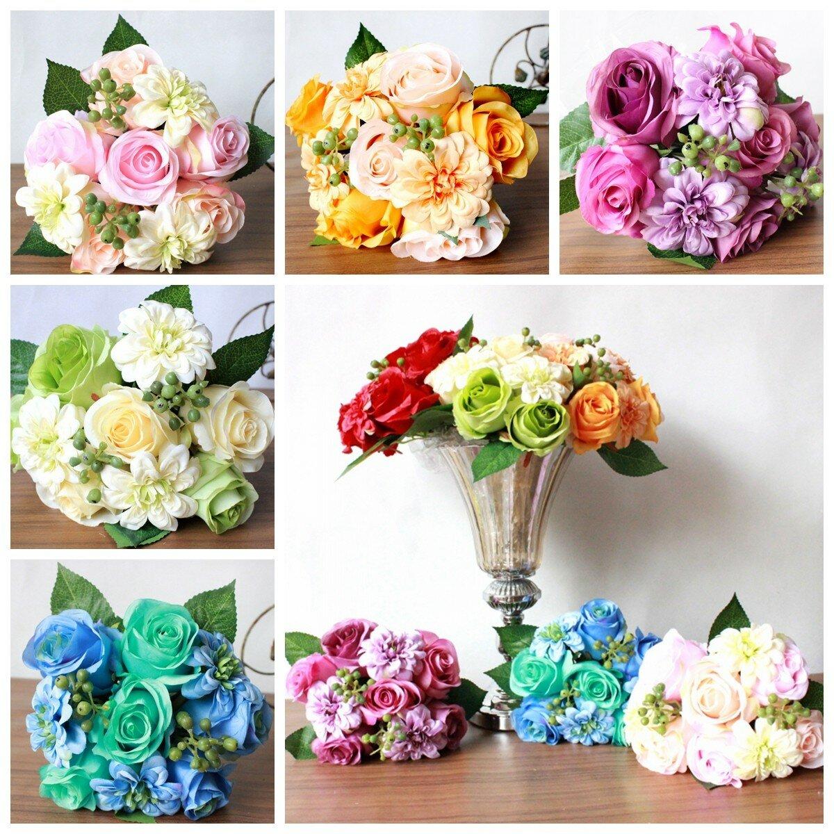 Bride Silk Rose Dahlia Bouquet Artificial Flower Wedding Party Supply Home Decoration