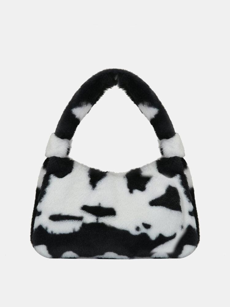 Femmes Peluche Fluffy Cow Zebra Sac À Bandoulière Sac À Main