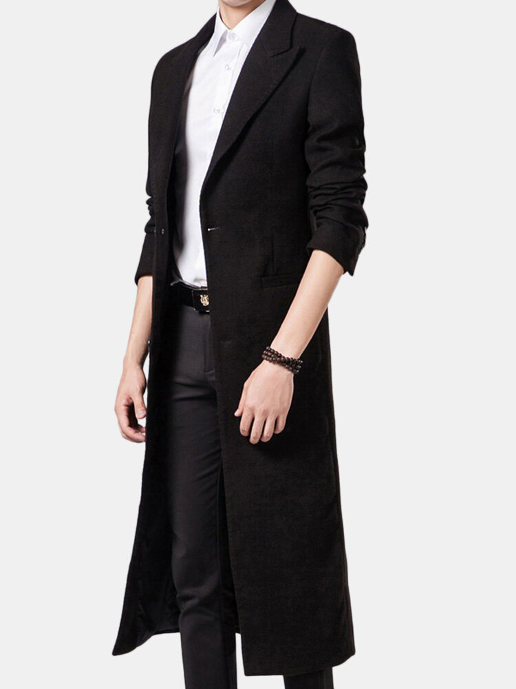 Mens Long Style Woolen Solid Color Suit Collar Slim Fit Casual Trench Coat
