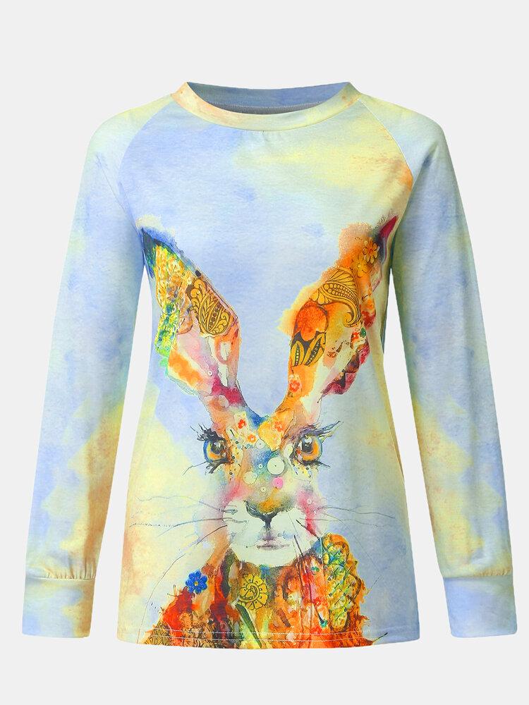 Rabbits Print O-neck Long Sleeve Plus Size Blouse for Women