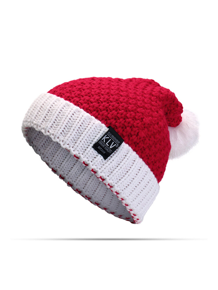 Winter Women Christmas Knitted Santa Claus Hat Soft Slouchy Beanie Hat For Christmas Gift