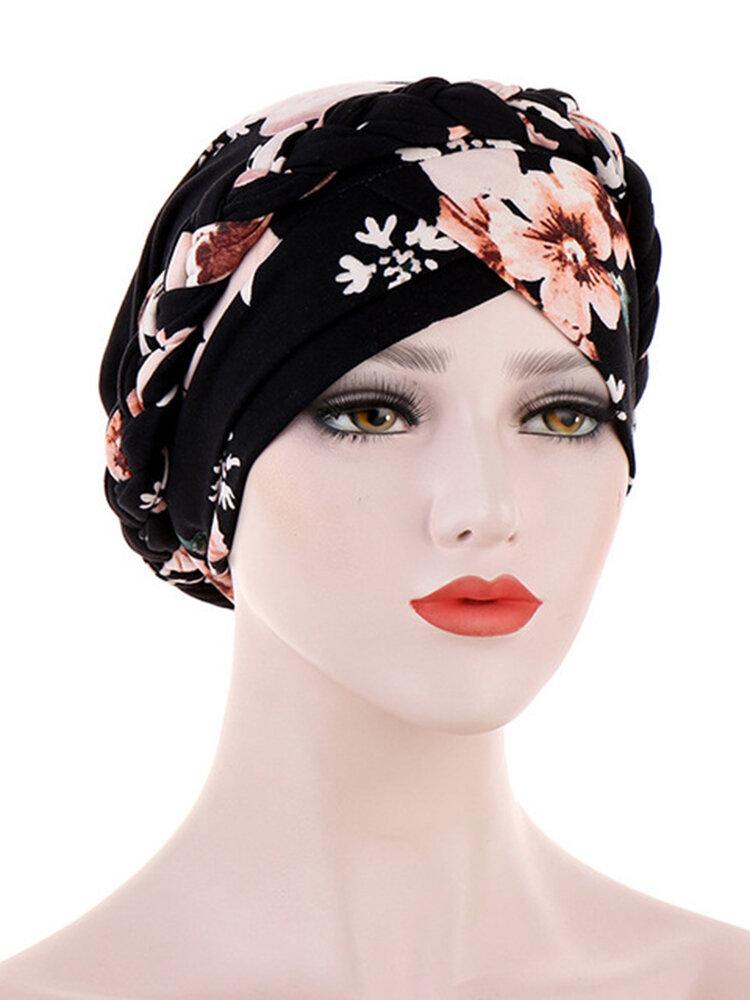 Women Printed Beanie Hat Ethnic Style Elastic Hat