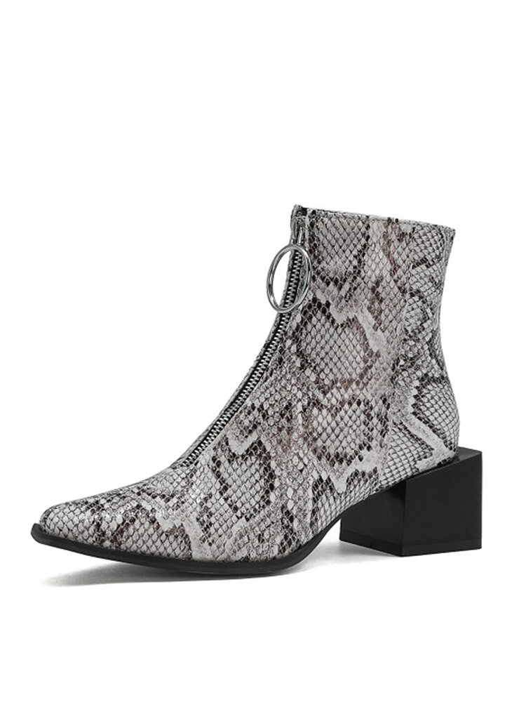 Women Pointed Toe Animal Print Front Zipper Chunky Heel Short Boots