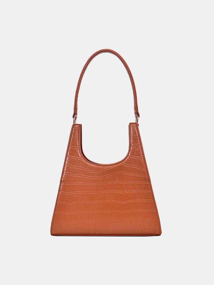 Solid Bag Crocodile Pattern Crossbody Bag