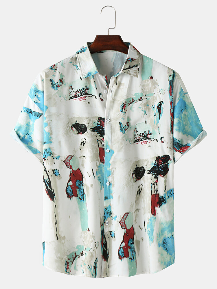 Mens Abstract Pattern Button Up Short Sleeve Curved Hem Shirt