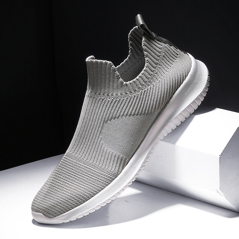 Men Knitted Fabric Comfy Breathable Slip On Casual Sneakers