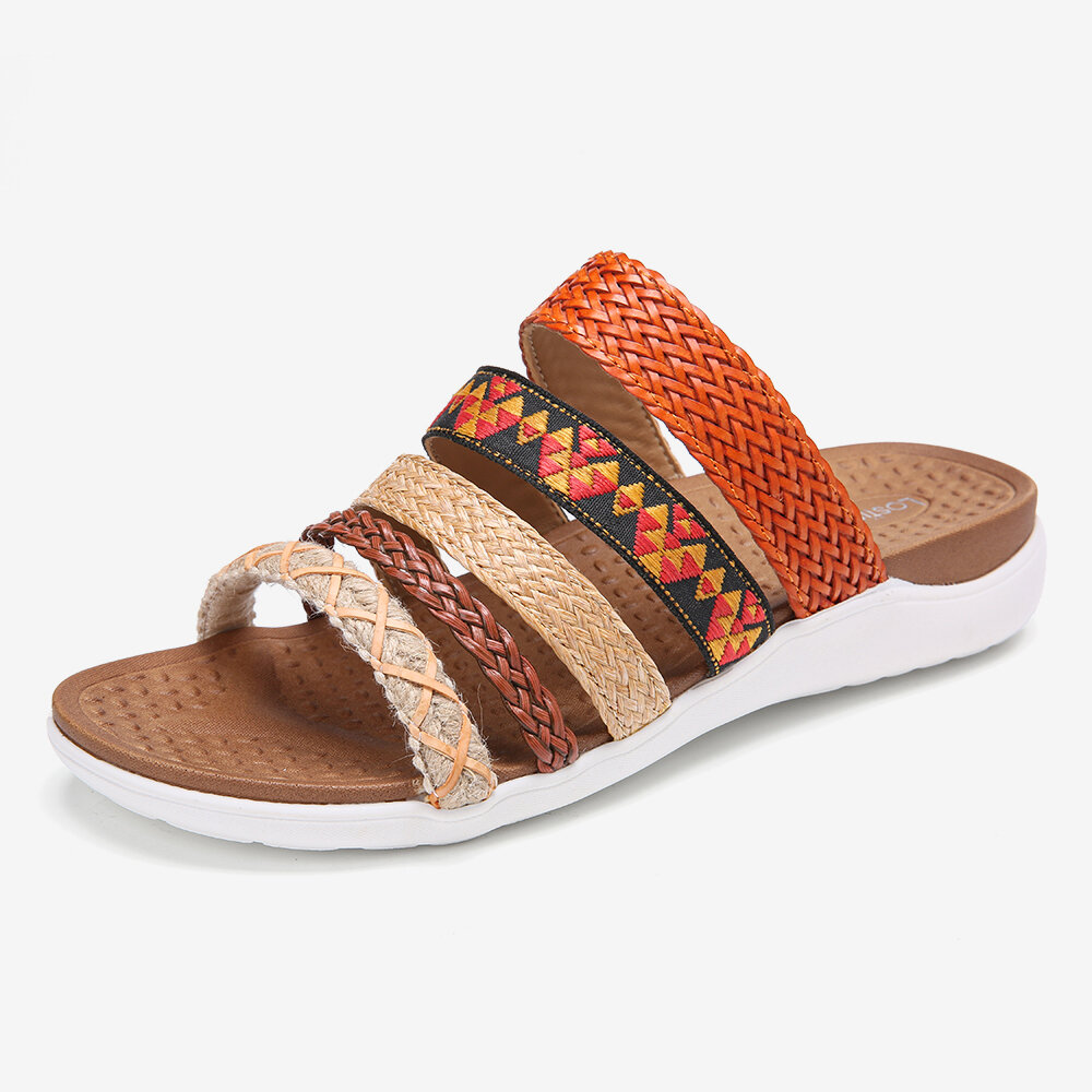 LOSTISY Orange Opened Toe Knitted Beach Casual Slippers