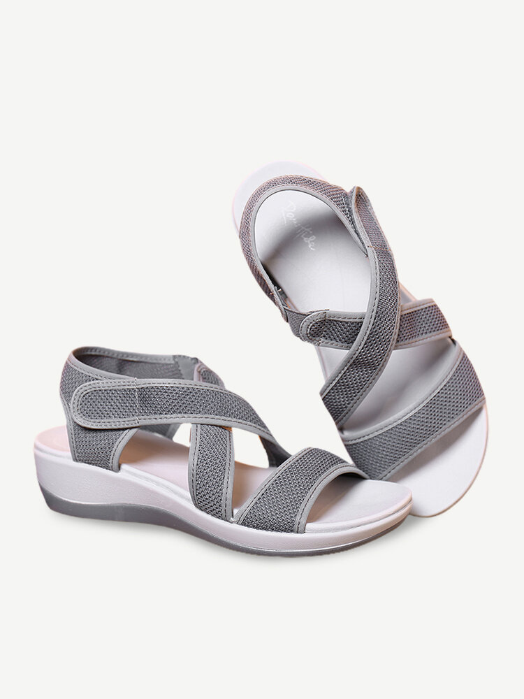 LOSTISY Cloth Opened Toe Cross Strap Casual Wedges Sandals