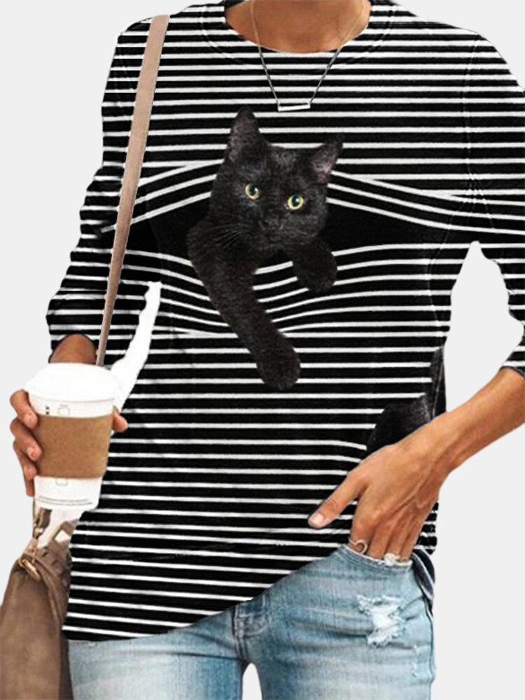 تي شيرت أبيض مخطط بأكمام طويلة ورقبة دائرية وطبعة قطة سوداء مقاس Plus