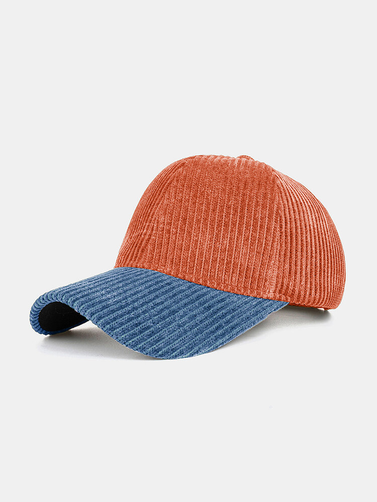 Collrown Men & Women Corduroy Contrast Color Casual Youth Personality Sunvisor Curve Brim Baseball Hat