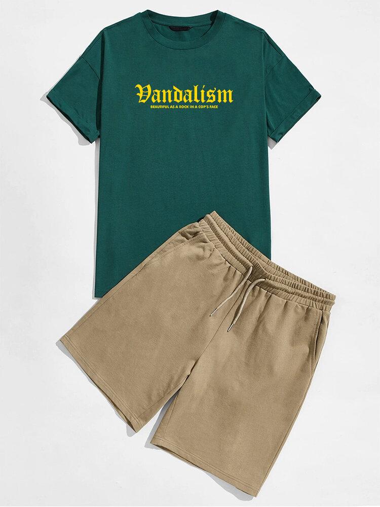 Mens Letter Graphics Short Sleeve T-Shirt & Pocket Shorts Preppy Co-ords
