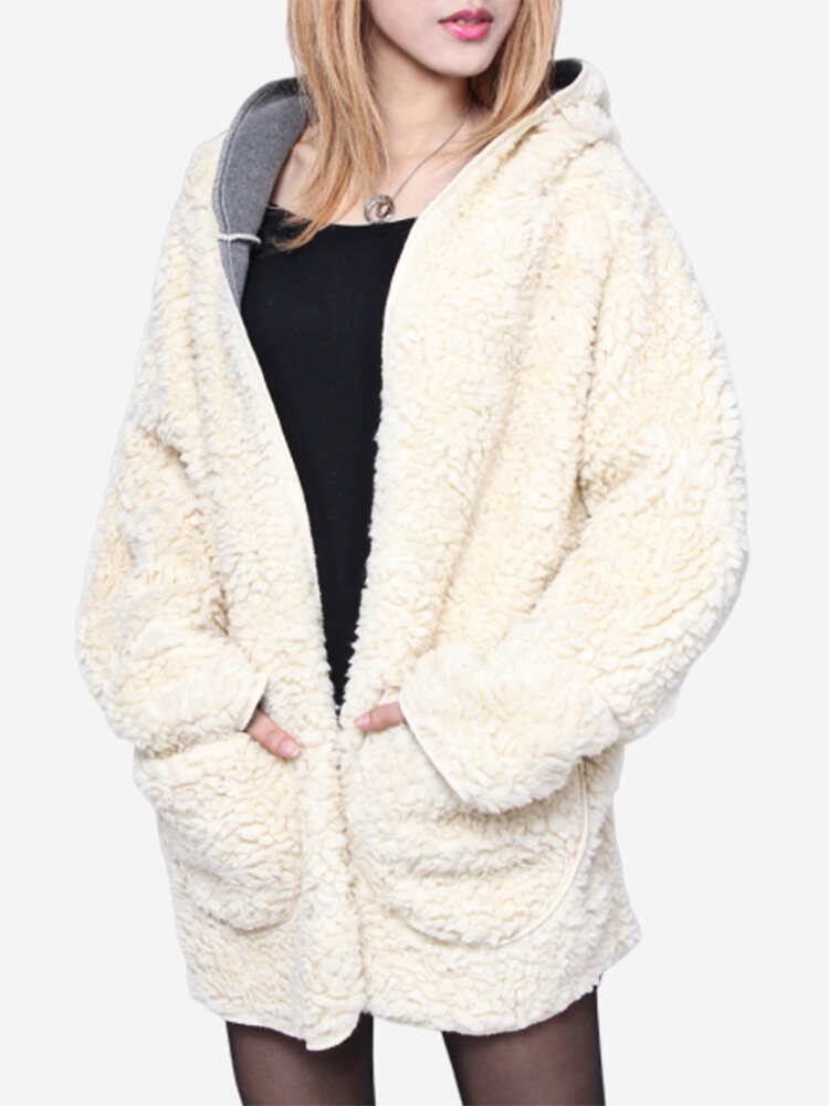 Plus Size Winter Thicken Outerwear Wool Hooded Coat