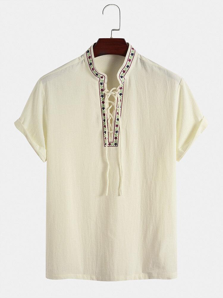 メンズフローラル刺繡トリム包帯綿100%半袖ヘンリーシャツ