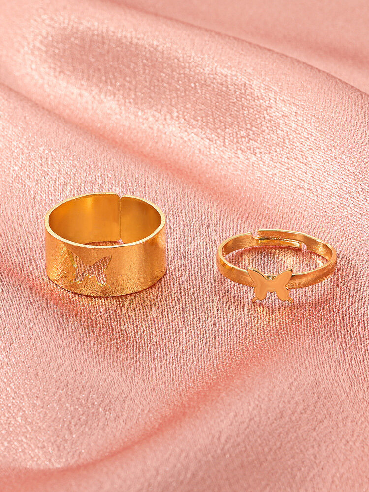2 Pcs Trendy Brief Butterfly Hollow Out Opening Adjustable Alloy Rings