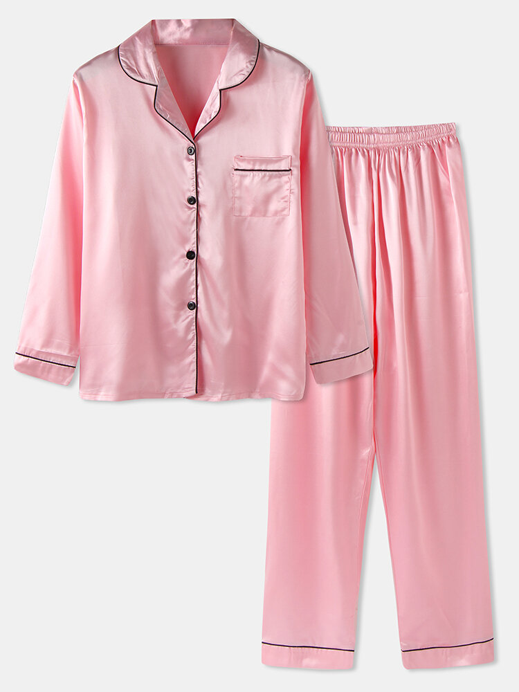Plus Size Women Faux Silk Lapel Chest Pocket Long Pajamas Sets With Contrast Binding