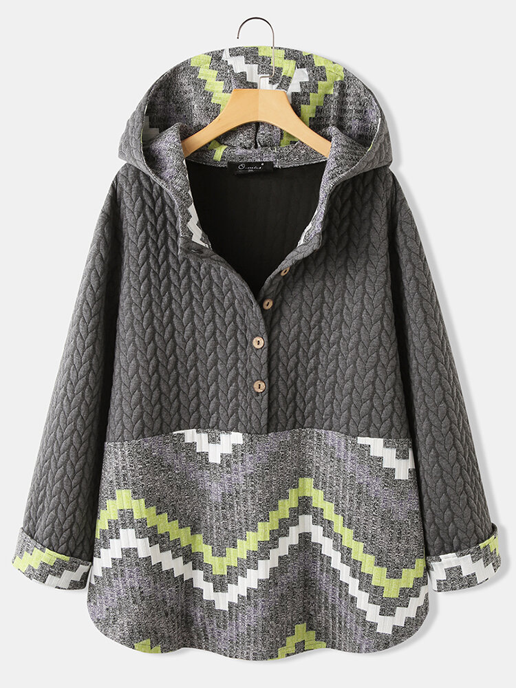 Casual Jacquard Patchwork Plus Size Hoodie for Women