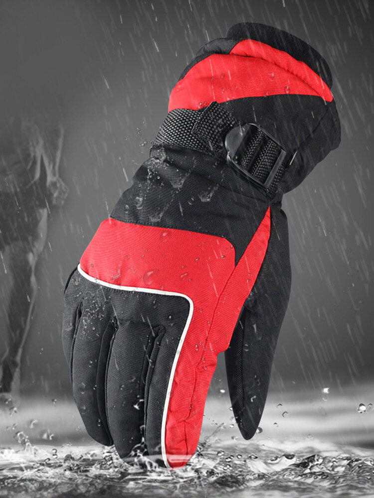 Men Winter Cycling Gloves Velvet Thick Windproof Waterproof Warm Full-finger Outdoor Ski Gloves
