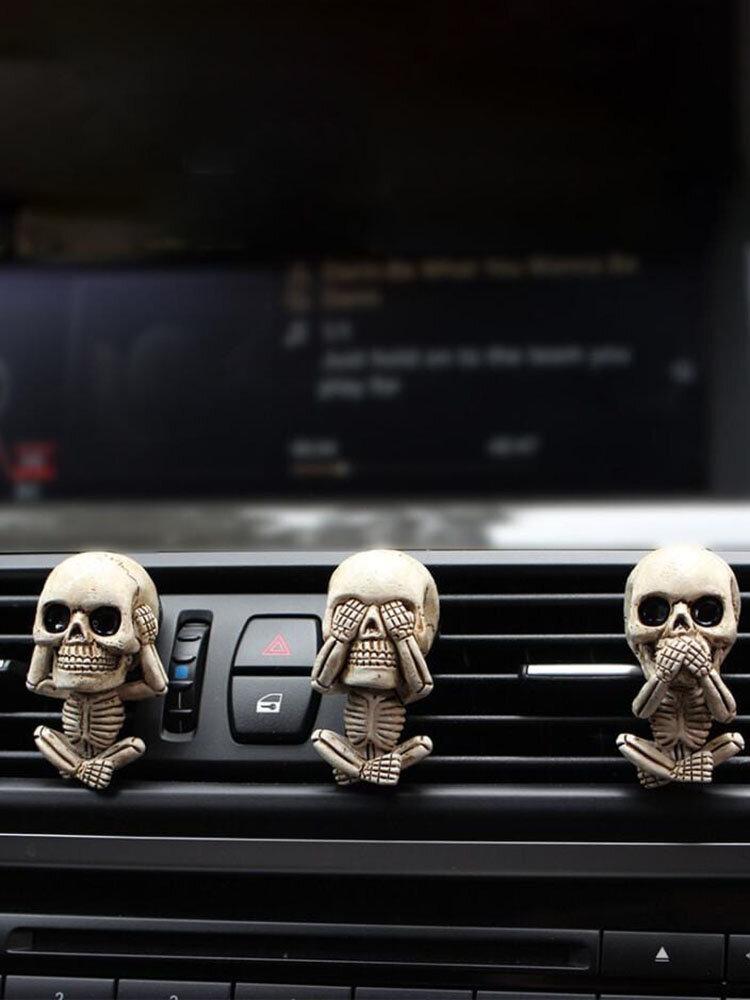 3PCS Set Creative Resin Bone Skull Diffuser Car Vent Clip Air Freshener Car Lucky Ornament