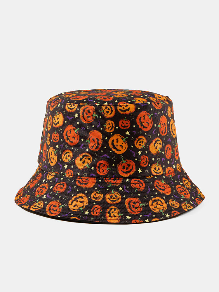 Halloween Unisex Cotton Overlay Cartoon Pumpkin Ghost Pattern Print Funny Sunshade Bucket Hat