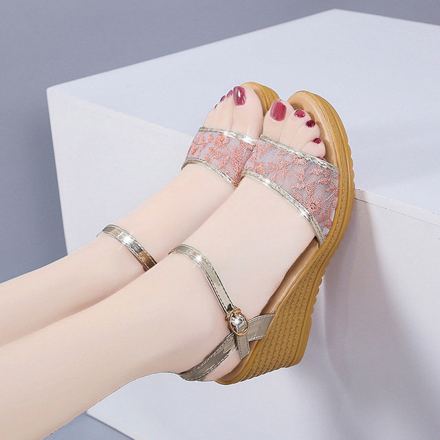 Season New Sandals Women's Tide Wedges With Thick Bottom Flat Wild High Heels Platform Shoes Shoes Women's Shoes