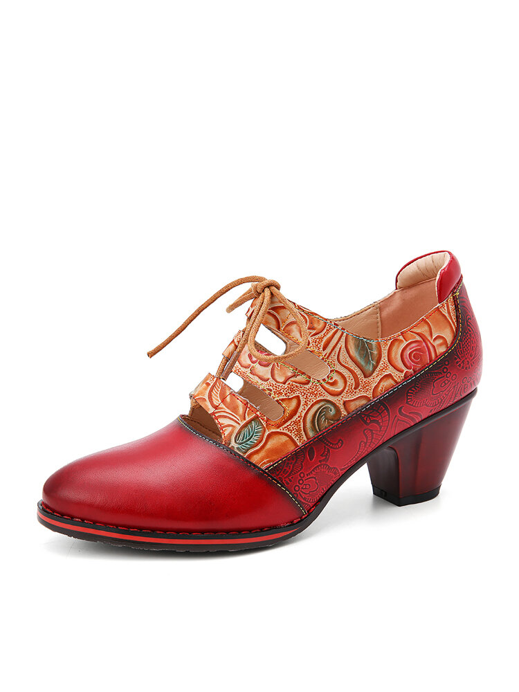 SOCOFY Leather Embossed Flowers Splicing Cut out Lace-up Chunky Heel Pumps Dress Shoes