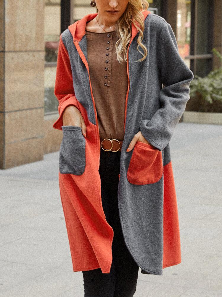女性のためのコントラストカラーポケット長袖カジュアルフード付きコート