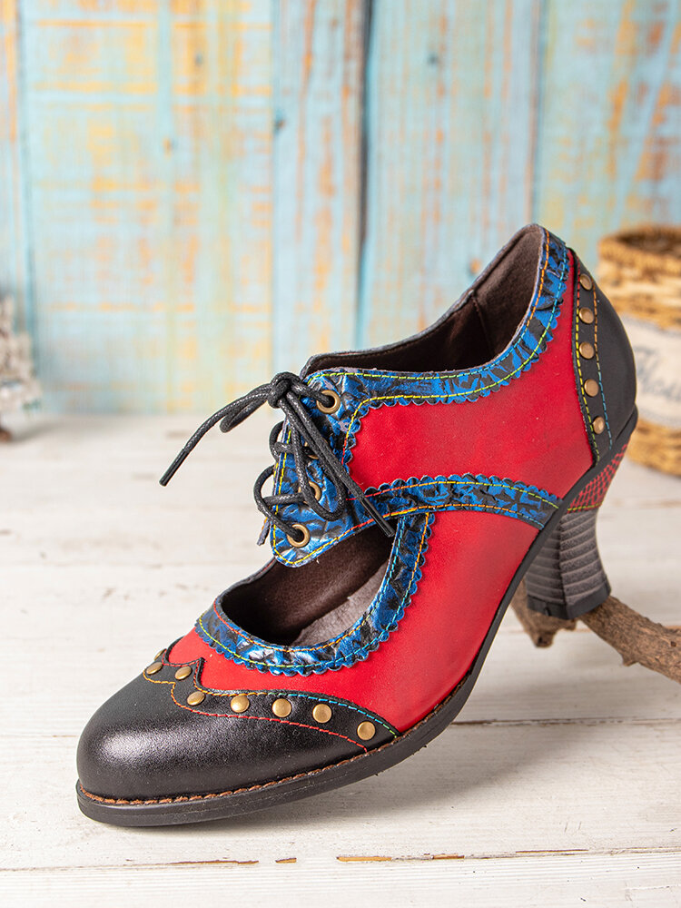 SOCOFY Splicing Color Block Rivet Leather Lace Up Comfy Round Toe Casual Hollow Out Heels Pumps