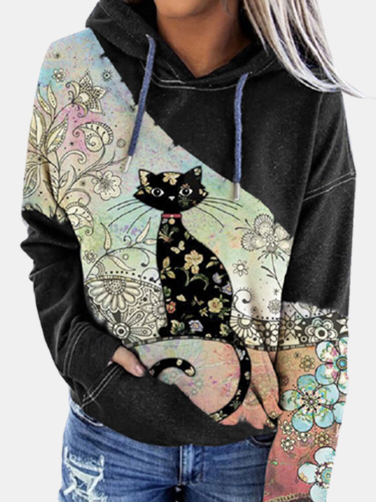 Cat Print Calico Patchwork Long Sleeve Drawstring Plus Size Hoodie