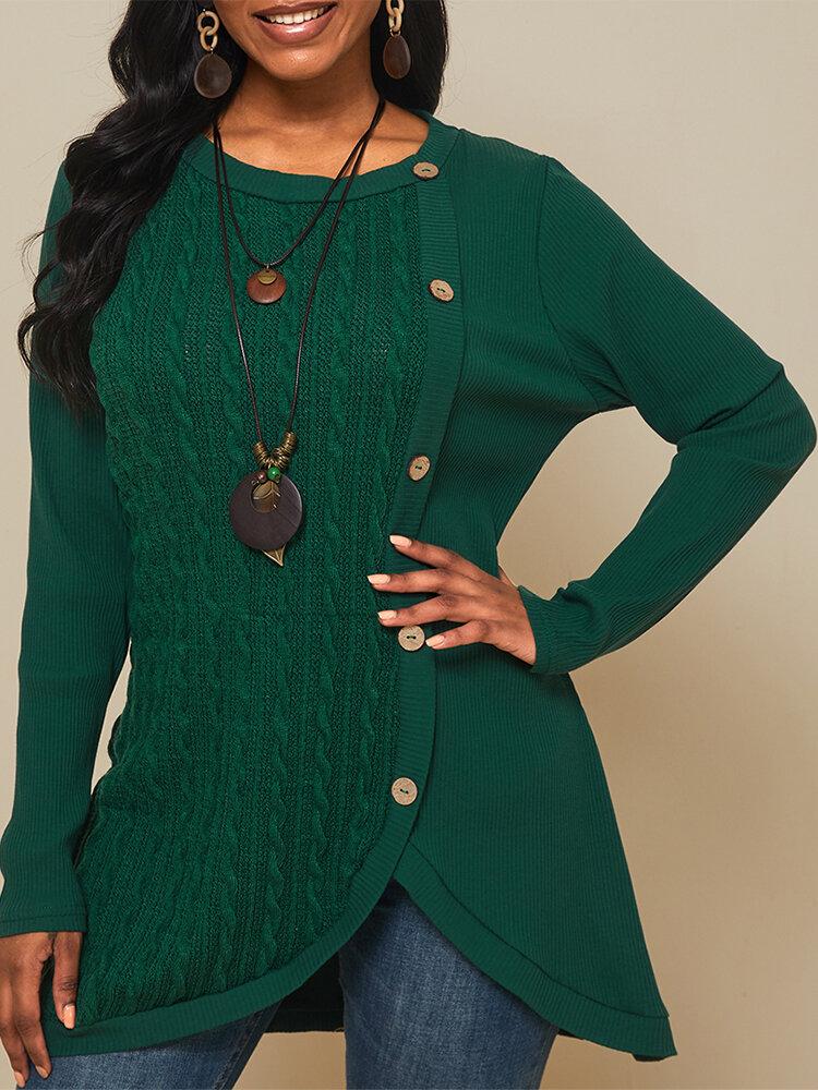 女性のための無地長袖Oネックパッチワークセーター