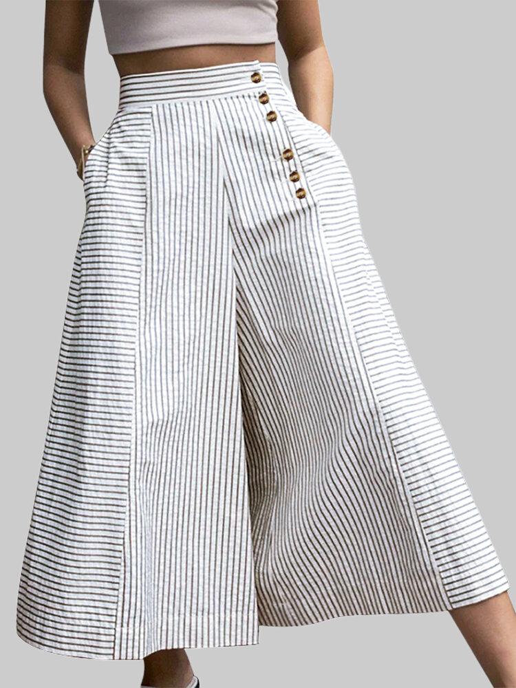 Striped Print Button Culottes For Women