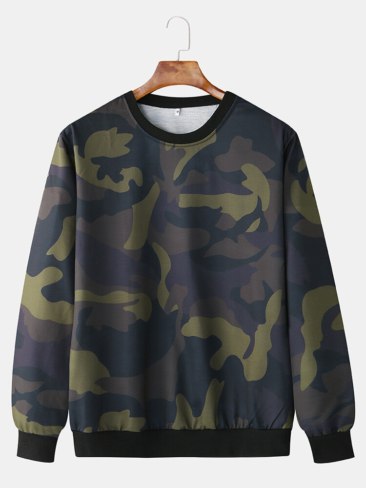 Mens Cotton Camouflage Printed Casual Pullover Long Sleeve Sports Hoodie
