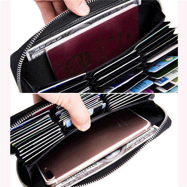 Hot-sale Women Men RFID Antimagnetic 36 Card Slots Dull Polish Genuine Leather 6inch Phone Bag Long Wallet