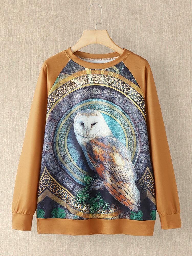 Vintage Cartoon Owl Print Patchwork O-neck Long Sleeve Sweatshirt