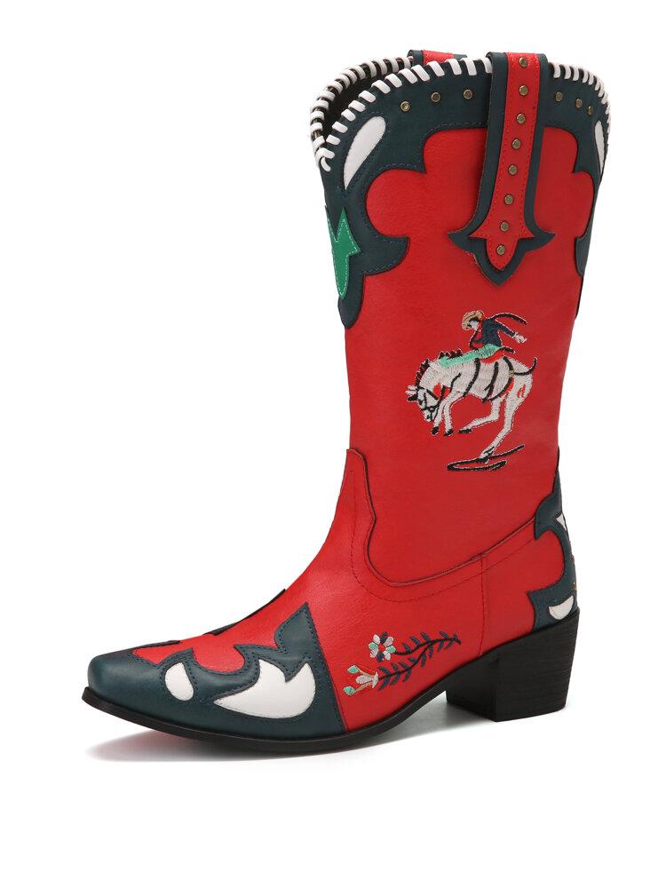 SOCOFY Folkways Embroidered Splicing Wearable Chunky Heel Mid-calf Cowboy Boots