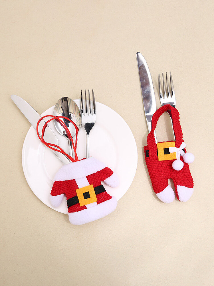 2 Pcs Christmas Knife And Fork Cover Set Christmas Tableware Cover Table Decoration Small Clothes Pants