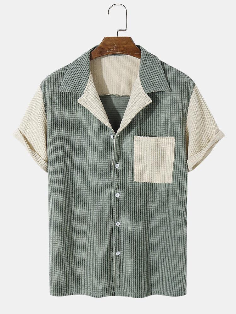 رجالي جاكار التباين لصق Revere ذوي الياقات البيضاء عارضة قمصان قصيرة الأكمام
