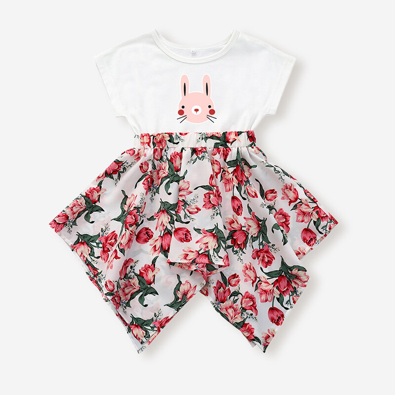 Girl's Rabbit Print Short Sleeves Cotton Casual Spliced Flower Dress For 1-5Y